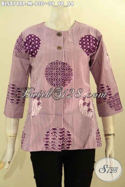 Pakaian Batik Modis Lengan 7/8 Wanita Muda, Blouse Keren Tanpa Kerah Di Lengkapi Kancing Depan Untuk Kerja Atau Acara Resmi