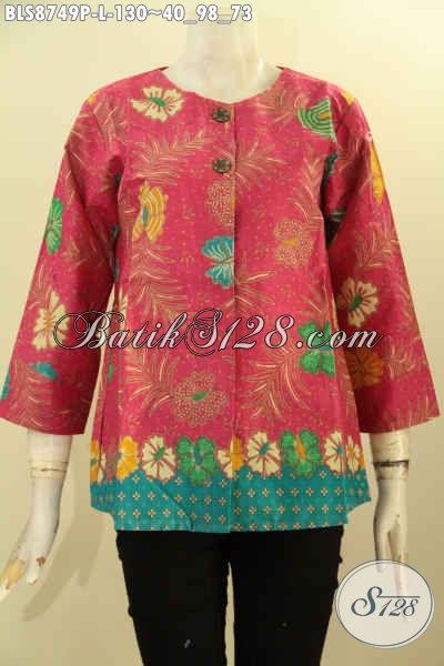 Busana  Batik Blouse Wanita Terbaru, Pakaian Batik Elegan Dan Istimewa Lengan 7/8 Tanpa Kerah Cocok Banget Untuk Seragam Kerja