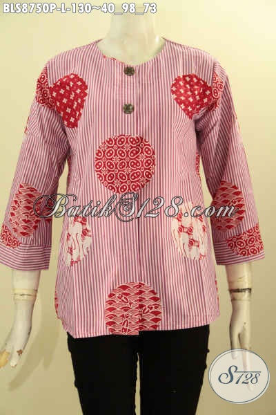 Pakaian Batik Warna Pink Model Terbaru Motif Unik Proses Printing, Blouse Batik Solo Asli Lengan 7/8 Dengan Kancing Depan Dan Tanpa Kerah