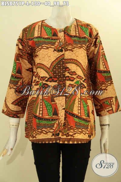Baju Batik Modern Untuk Wanita Karir Dan Rumahan, Cocok Untuk Kondangan Dan Acara Resmi, Pakaian Batik Modis Motif ELegan Model Lengan 7/8 Tanpa Kerah Kancing Depan [BLS8751P-L]