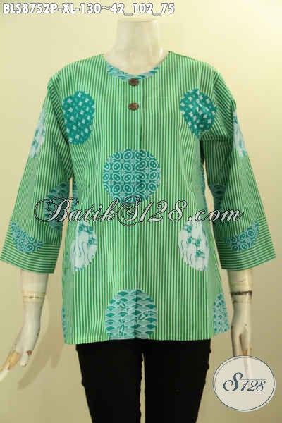 Toko Baju Batik Online Terlengkap, Sedia Blouse Wanit Size XL Tanpa Kerah Dengan Lengan 7/8 Di Lengkapi Kncing Depan, Tampil Modis Dan Stylish