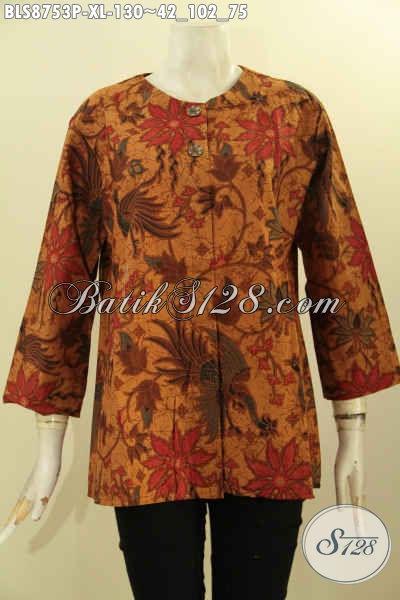 Olshop Pakain Batik Terlengkap, Sedia Batik Blouse Tanpa Kerah Dengan Kancing Depan Lengan 7/8 Motif Bagus Proses Printing, Istimewa Untuk Acara Resmi