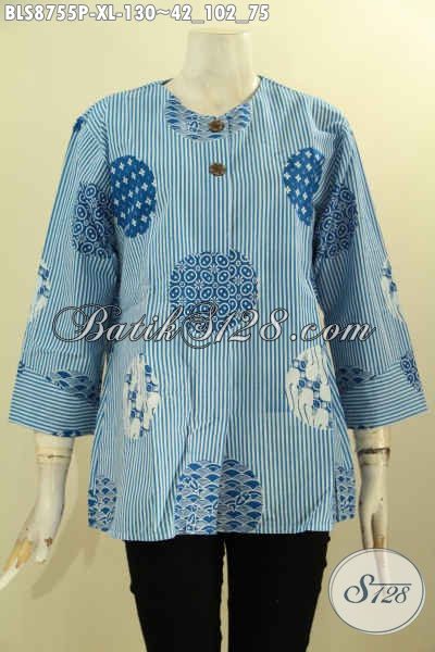Koleksi Busana Batik Perempuan Terbaru, Baju Batik Keren Kwalitas Bagus Desain Lengan 7/8 Kwalitas Istimewa Pakai Kancing  Depan Tanpa Kerah Hanya 130K