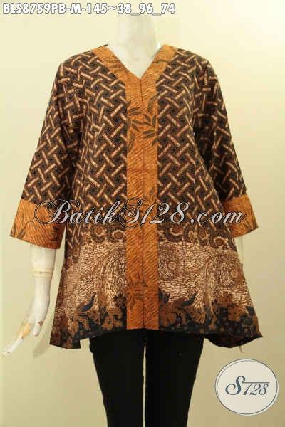 Blouse Batik Model Kutubaru Lengan 7/8 Bahan Adem Motif Bagus Dan Elegan Untuk Wanita Muda Tampil Gaya Dan Berkelas [BLS8759PB-M]