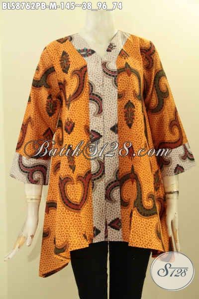 Model Baju  Batik Kutubaru Motif Bagus Proses Printing Cabut, Pakaian Batik Solo Asli Lengan 7/8, Bisa Buat Ngantor Dan Kondangan [BLS8762PB-M]