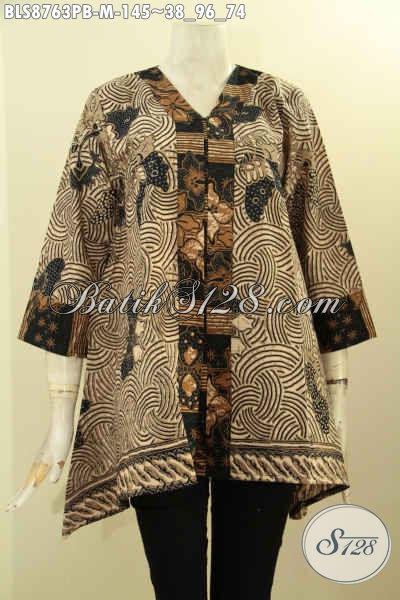 Baju Batik Cewek Modis Dan Elegan, Blouse Batik Solo Nan Istimewa Khas Jawa Tengah Model Kutubaru Dengan Lengan 7/8, Manunjang Penampilan Cantik Dan Berkelas [BLS8763PB-M]