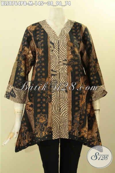 Pakaian Batik Solo Halus Motif Klasik, Pakaian Batik Berkelas Untuk Perempuan Masa Kini, Blouse Batik Kutubatu Lengan 7/8 Untuk Penampilan Anggun Mempesona