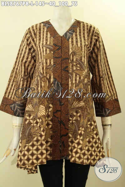 Pakaian Batik Wanita Lengan 7/8, Busana Batik Solo Elegan Model Kutubaru, Blouse Batik Pakaian Perempuan Untuk Tampil Elegan Dan Gaya