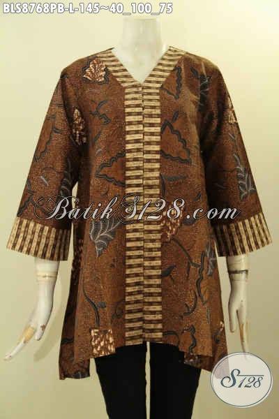 Baju Batik Untuk Wanita Karir, Blouse Kutubaru Lengan 7/8 Bahan Adem Motif Klasik Proses Printing Cabut, Cocok Juga Untuk Kondangan
