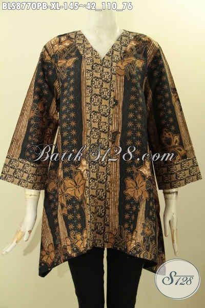 Batik Blouse Perempuan Karir, Baju Batik Kutubaru Lengan 7/8 Bahan Adem Motif Elegan Klasik Proses Printing Cabut Untuk Kerja Dan Kondangan
