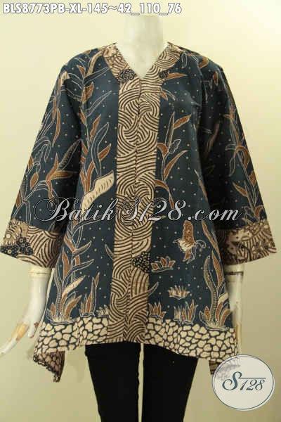 Baju Batik Blouse Model Kutubatu Lengan 7/8 Size XL, Pakaian Batik Kerja Wanita Karir Motif Bagus Bahan Adem Proses Printing Cabut, Cocok Juga Buat Kondangan [BLS8773PB-XL]