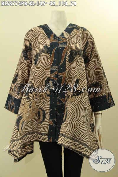 Pakaian Batik Solo Model Kutubaru Elegan Dan Mewah, Blouse Batik Istimewa Lengan 7/8 Bahan Adem Motif Klasik Proses Printing Cabut Hanya 140 Ribuan