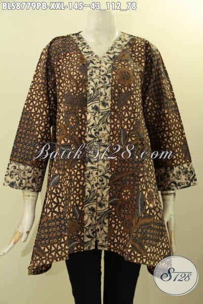 Model Baju Batik Spesial Untuk Wanita Gemuk, Pakaian Batik Solo Jawa Tengah Nan Berkelas Desain Kutubaru Dengan Lengan 7/8 Bahan Adem Nyaman Di Pakai [BLS8779PB-XXL]