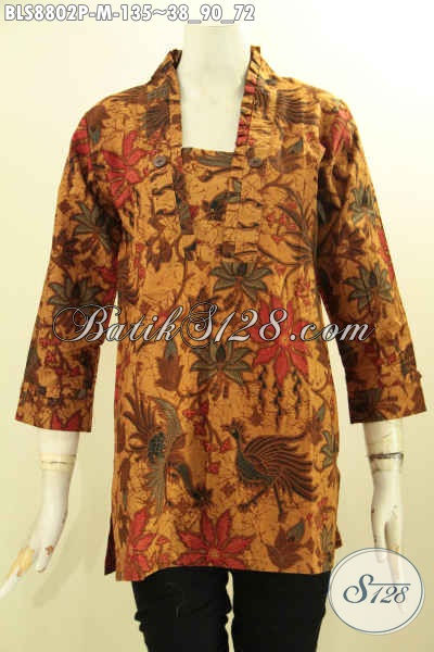 Jual Blouse Batik Model Kutubaru Lengan 7/8 Untuk Wanita Muda Terlihat Cantik Dan Elegan, Pakaian Batik Etnik Motif Bagus Proses Printing Hanya 135K [BLS8802P-M]