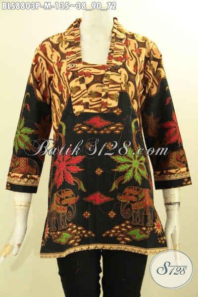 Juragan Baju Batik Online Terlengkap, Sedia Batik Blouse Model Kutubaru Lengan 7/8 Motif Bagus Proses Printing Bahan Adem, Istimewa Untuk Acara Resmi [BLS8803P-M]