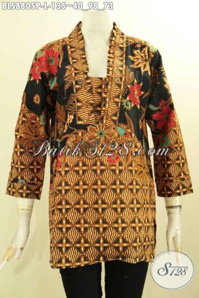 Pakaian Batik Wanita Modern Dengan Sentuhan Klasik, Blouse Batik Kutubaru Lengan 7/8 Bahan Adem Proses Printing Kwalitas Istimewa Hanya 100 Ribuan Saja [BLS8805P-L]