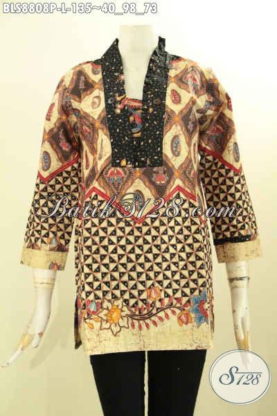 Toko Baju Batik Solo Paling Komplit, Sedia Busana Batik Elegan Model Kutubaru Mewah Lengan 7/8 Kwalitas Bagus Hanya 100 Ribuan