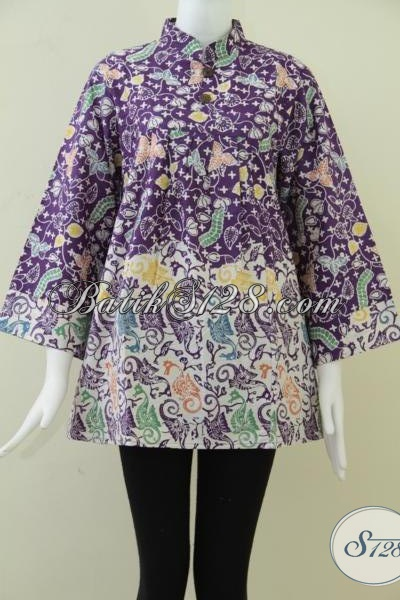 Motif Batik Unik Untuk Blus Batik Wanita Trendy,Batik Kombinasi Floral Dan Kuda Laut [BLS880C-L]