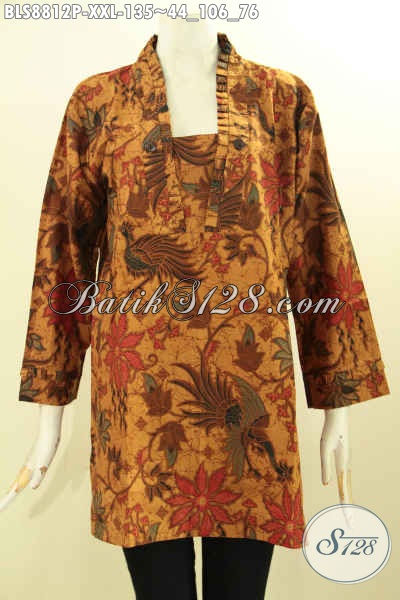 Toko Baju Batik Solo Jawa Tengah Tren Model Kutubaru Nan Elegan, Pakaian Batik Lengan 7/8 Spesial Untuk Wanita Gemuk Size XXL