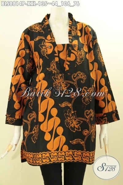 Model Baju Batik Blouse Kutubaru Yang Banyak Di Minati Wanita Karir, Hadir Dengan Motif Klasik Lengan 7/8 Bahan Halus Nyaman Di Pakai Hanya 135K [BLS8814P-XXL]