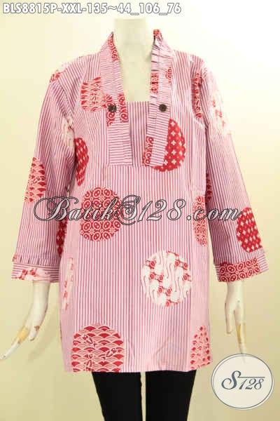 Agen Baju Batik Solo Masa Kini Kwalitas Bagus Harga Terjangkau, Sedia Blouse Batik Lengan 7/8 Model Kutubaru Warna Pink Motif Modern, Exclusive Untuk Perempuan Badan Gemuk