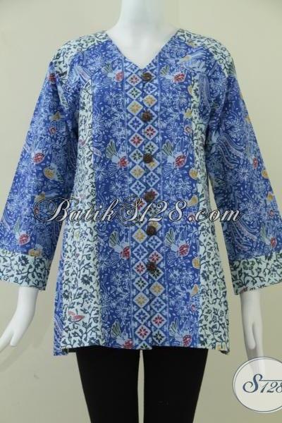 Blus Batik Wanita Terbaru, Baju Batik Resmi Untuk Kodangan Rapat DLL, Size XL