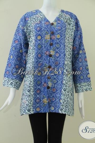 Pakaian Batik Cantik Motif Modern Lengan Panjang, Baju Batik Gaul Ukuran Jumbo XXL Untuk Perempuan Berhijab
