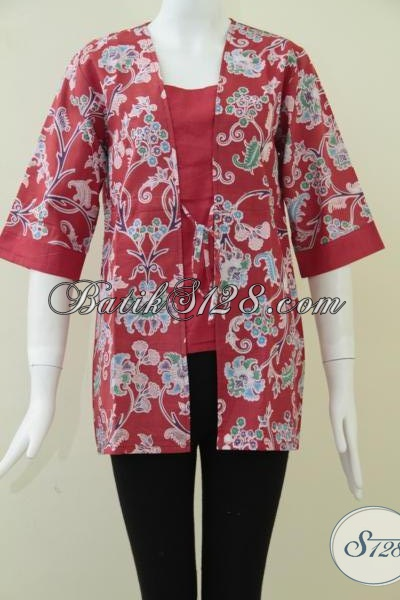 Busana Batik Modern Motif Bunga Warna Merah, Pakaian Batik Wanita Kantoran Tampil Cantik, Size M – L