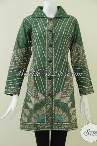Busana BAtik Tulis Wanita Warna Hijau Elegan,Batik Tulis Trendy Dan Modern [BLS915T-M]
