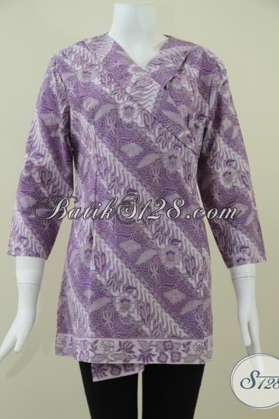 Blus Batik Tulis Trendy Model Kimono Warna Ungu, Baju Batik Kerja Tampil Cantik Setiap Hari, Size S