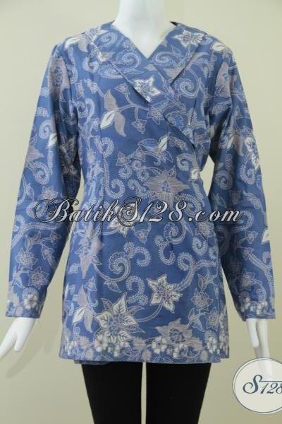 BAtik Kimono Warna Biru Elegan Dan Trendy Untuk Wanita Pegawai Bank [BLS924BT-M]