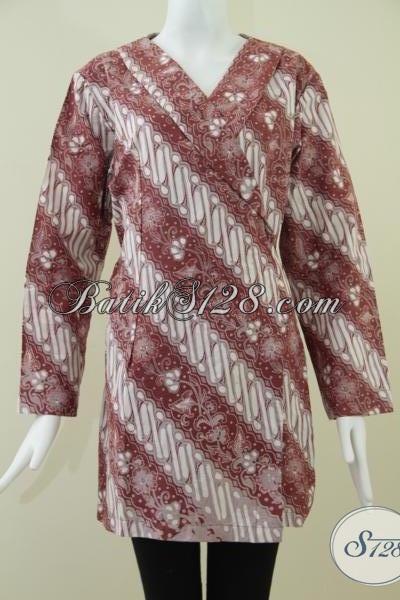 Toko Batik Solo Lengkap Murah Melayani Online, Jual Batik Busana Wanita Karir Model Kimono Bagus Dan Trendy, Size XL