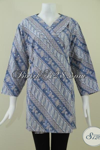 Jual Blus Batik Keren Untuk Pegawai Negeri BUMN Dan Swasta, Baju Batik Trendy Model Kimono, Size XL
