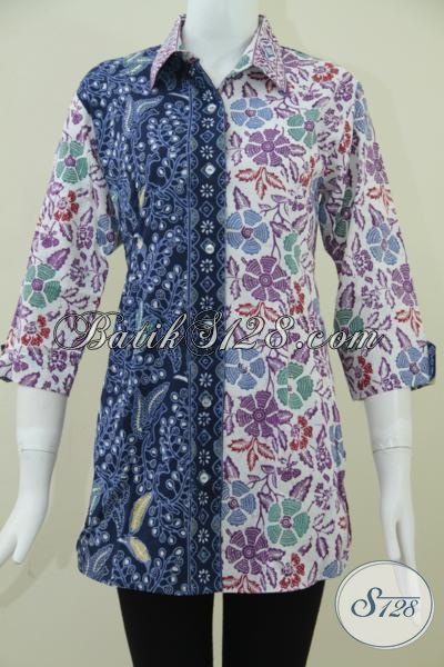 Baju Batik Wanita Trendy Paduan Dua Warna Batik Wanita