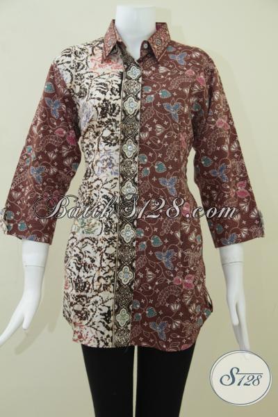 Tampil Cantik Dan Menawan Setiap Hari Dengan Koleksi Blus Batik Solo, Baju Batik Wanita Karir Motif Keren Fashionable, Size XL