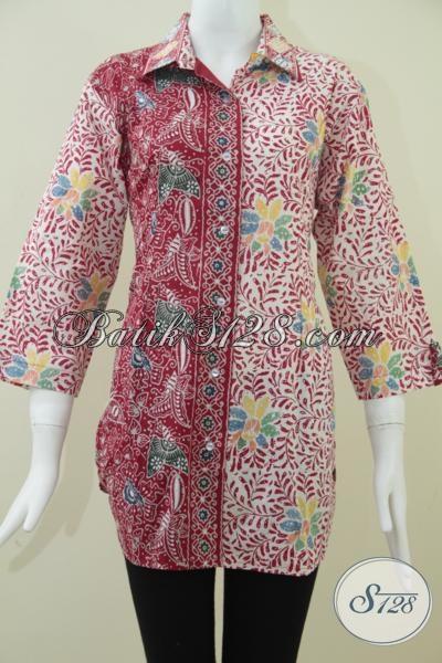 Blus Wanita Batik Kombinasi Motif Kupu,Bunga Dan Daun [BLS938CT-XL]