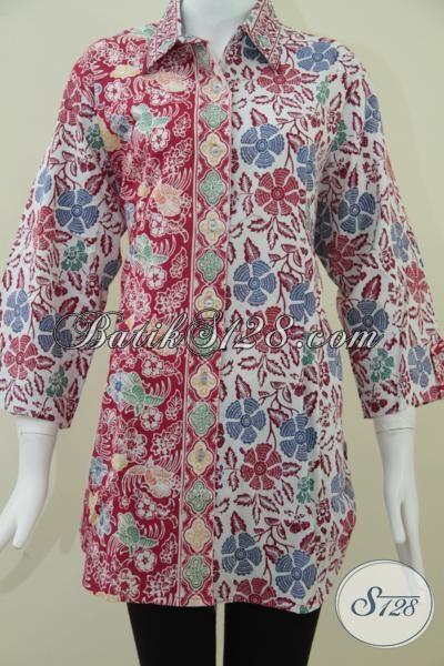 Batik Cap Motif Terkini,Batik Wanita Warna Merah Cerah [BLS943C-XXL]