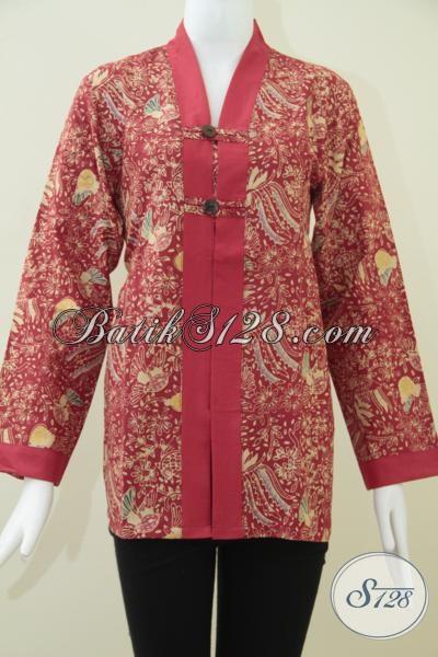 Jual Busana Batik Wanita Karir, Blus Batik Keren Lengan Panajang Motif Unik, Cocok Untuk  Perempuan Berhijab, Size M – L – XL