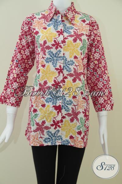 Baju Batik Wanita Warna Merah Untuk Acara Formal Bls965c