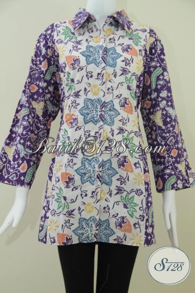 Batik Solo Warna Ungu,Blus Batik Wanita Karir Model Modern [BLS968C-XL]