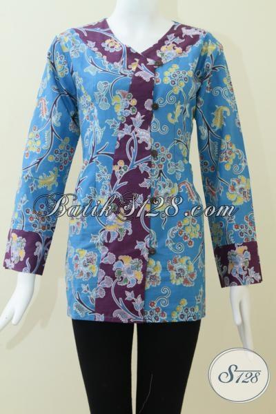 Distro Batik Solo Murah Terjangkau, Blus Batik Printing Trendy Modern Dan Fashionable, Size M