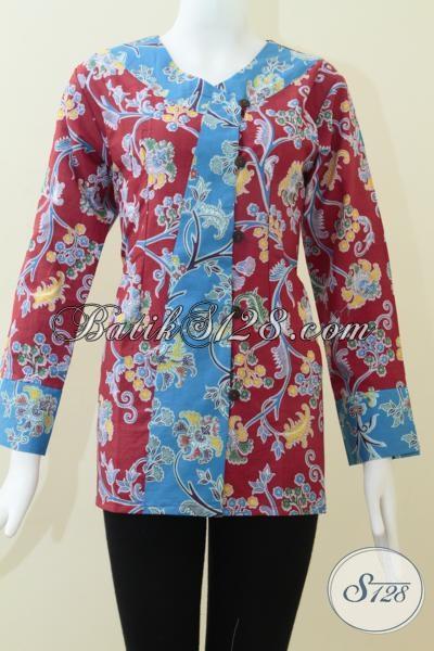 Pakaian Batik Kerja Wanita Karir, Baju Batik Lengan Panjang Bahan Halus Motif Keren Nyaman Dipakai, Size XL