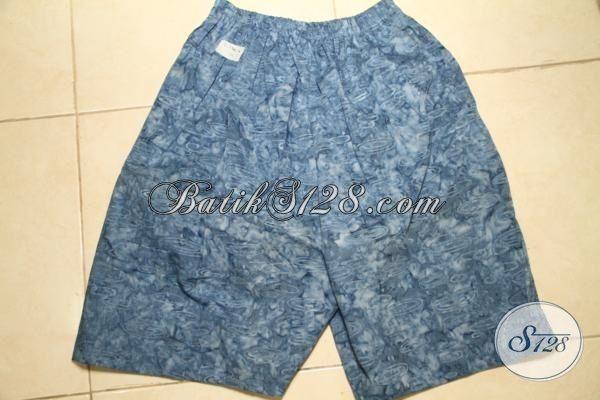 Celana Pendek Batik Warna Biru Motif Terbaru, Batik Celana Buatan Solo Kwalitas Halus Harga Sangat Terjangkau