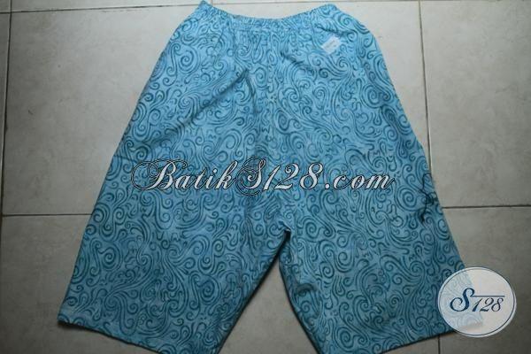 Jual Celana Pendek Batik Cap Smoke Warna Biru, Pakaian Batik Santai Motif Unik Berpadu Bahan Halus Dan Adem