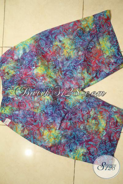 Celana Pendek Batik Warna Gradasi, Batik Cap Smoke Halus, Pakaian Santai Halus Nyaman Untuk Di Rumah [CD4123CS-63 cm]