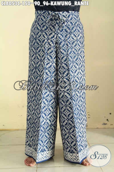 Model Baju Batik Wanita Buat Jalan-Jalan, Celana Kulot Batik Modis Dengan Karet Pinggang Dan Tapil Serta Kantong Di Kanan Harga 150K Proses Cap