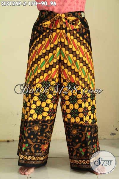 Model Celana Kulot Batik Motif Sinaran Bahan Halus Proses Printing Dengan Kantong Bagian Kanan Bertali, Tampil Modis Dan Keren [CL8126P-All Size]