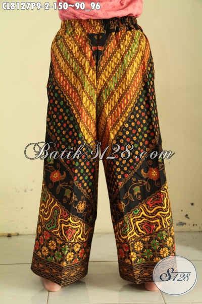 Model Celana Kulot Batik Solo, Bawahan Batik Untuk Wanita Bahan Halus Pakai Kantong Di Bagian Kanan Serta Pakai Tali Pinggang Bisa Di Serut [CL8127P-All Size]