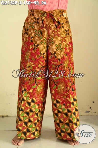 Model Celana Batik Kulot Buat Jalan-Jalan Dan Santai, Batik Celana Modis Dengan Kantong Dan Tali Pinggang