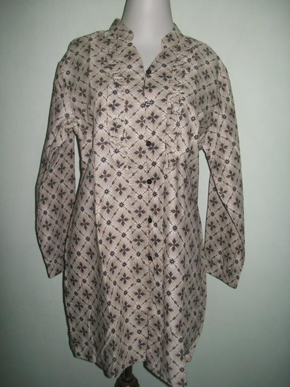 Blus Batik Modern Muslim Bahan Katun Halus Printing